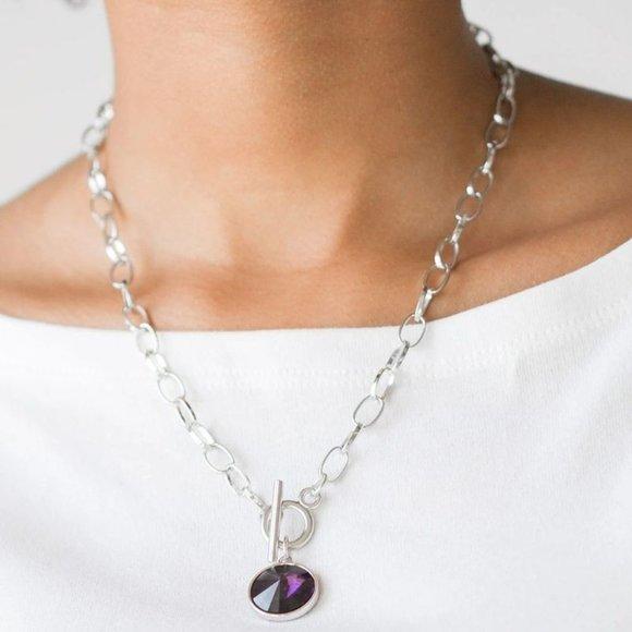 She Sparkles On Purple Necklace